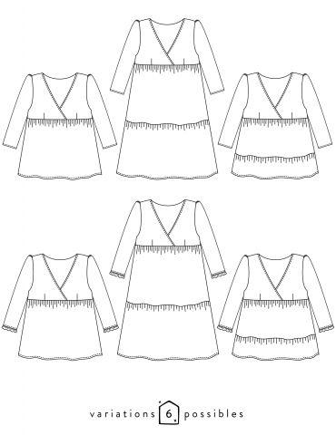 Atelier Scammit - Dessins techniques des déclinaisons possibles, blouse ou robe Eugénie