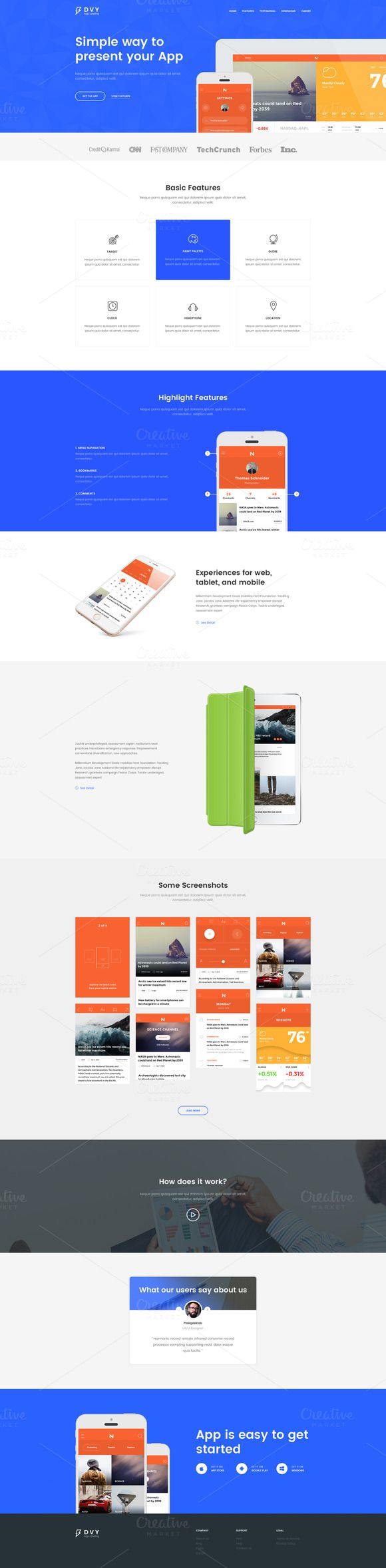 DVY App Landing Page PSD Template by pixelgeeklab on Creative Market