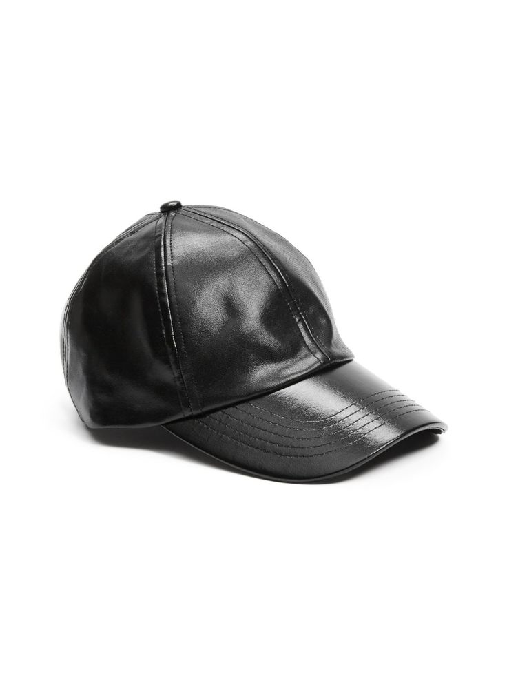 Faux-Leather Baseball Cap