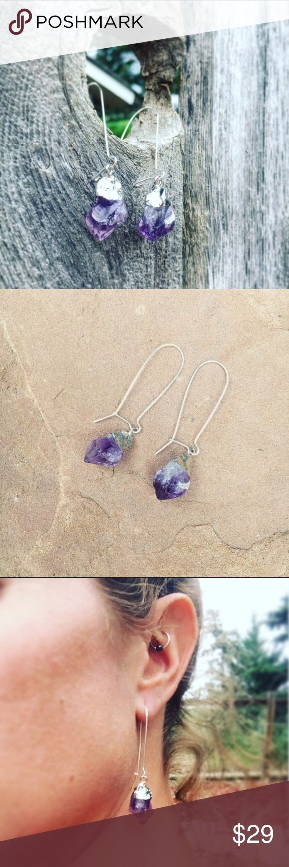 "Wild Raw Amethyst Dangle Earrings Brand new and made with love in Colorado! Gorgeous genuine raw cut purple Amethyst Crystals on silver tone dangle earrings! ""Amethyst is a meditative and calming stone which works in the emotional, spiritual, and physical planes to promote calm, balance, and peace. Used since ancient times to eliminate addiction and impatience."" 💜 Amethyst stones are roughly .5"" long, Silver tone dangle 2"" long. Alloy free. Healing, trendy and oh so pretty! wildarrow…"