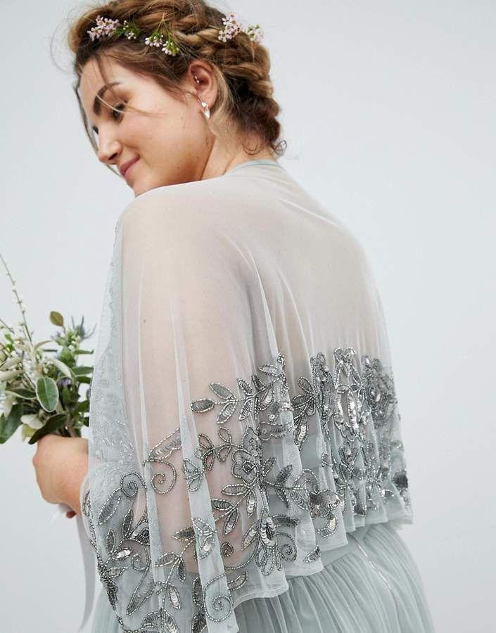 66b2e14881 Maya Plus Sequin Cape Tulle Skirt Maxi Bridesmaid Dress #Cape#Tulle#Maya