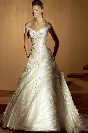 Gorgeous A-line Taffeta Sleeveless Off-the-Shoulder Floor-Length Court Wedding Dresses (3AA0168)