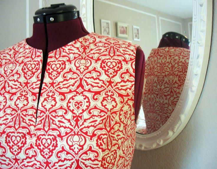 Aux Belles Choses: Red Damask Peplum Top - McCalls 6896