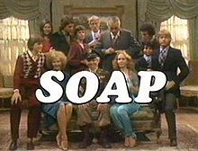 "Soap is an American sitcom that originally ran on ABC from 1977 into 1981.  The show was created as a night-time parody of daytime soap operas, presented as a weekly half-hour prime time comedy. Similar to a soap opera, the show's story was presented in a serial format and included melodramatic plot elements such as alien abduction, demonic possession, murder, and kidnapping. In 2007 it was listed as one of Time magazine's ""100 Best TV Shows of All-TIME,"""