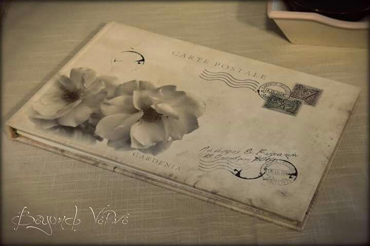Vintage gardenia guestbook carte postale postcard - Wedding stationery