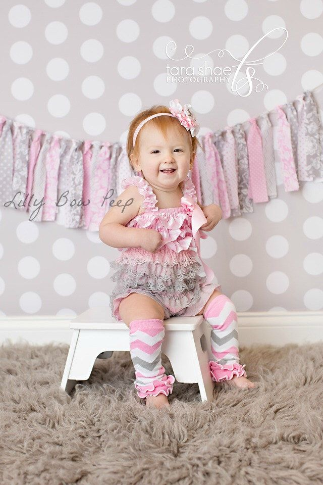 Vintage Girl Pink & Gray Lace Petti Romper Baby Girl