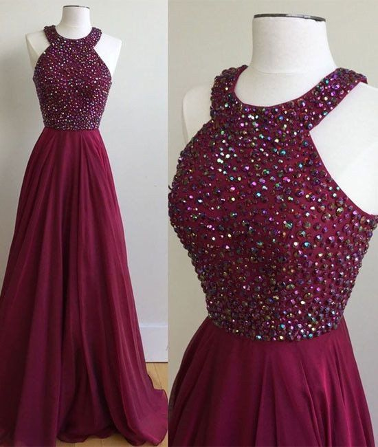Fashion Halter Neck Beaded Long Prom Dress , Long Winter Formal Dress P017