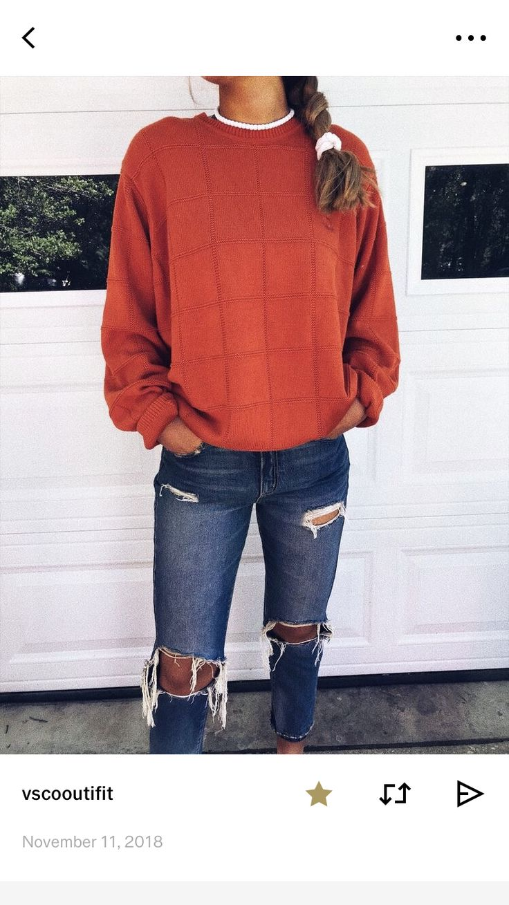 Distressed Jeans / Plain Sweater or Sweatshirt