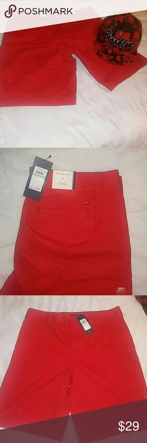 """Women's """"Tommy Hilfiger"""" Red Shorts Women's red Bermuda style shorts w/ Tommy Hilfiger logo embroidered over the right back pocket.  100% cotton. Size 8 Tommy Hilfiger Shorts Bermudas"""