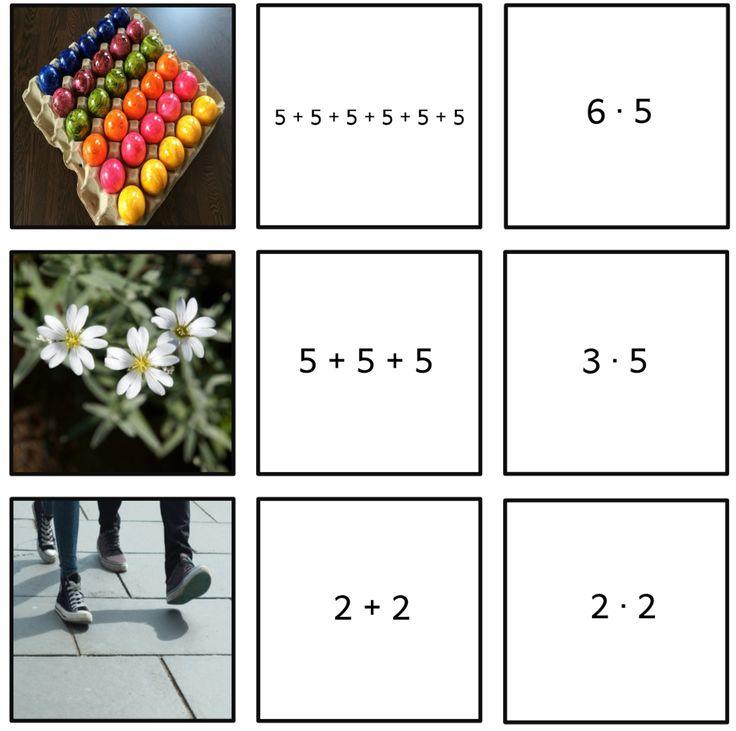 Hier ein kleines Zuordnungsspiel zur Einführung des Einmaleins. Die Fotos stammen von pixabay.com. Zuordnungsspiel Einmaleinsaufgabe...