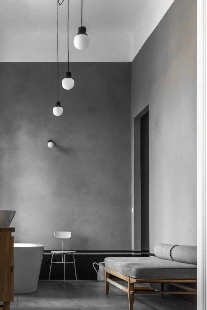 Fantastic limewash paint in a Berlin house remodel by Jacek Kolaskinski of Polish design firm Loft | Remodelista