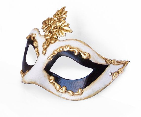 Black White And Gold Masquerade Mask In Antique Look by SOFFITTA