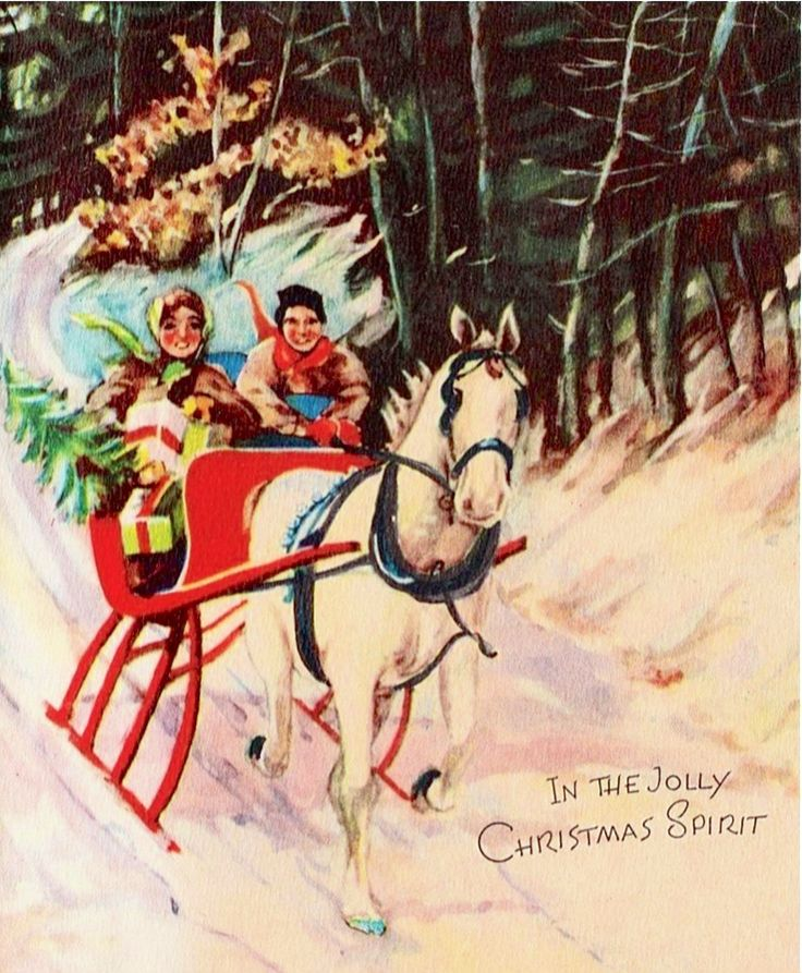 Vintage Christmas Cards with Horses | Cowboy Magic - Cowboy Magic