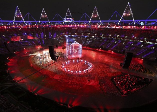London 2012 Opening Ceremony - Picture shows a general view of the opening ceremony of the London 2012 Olympic Games at the Olympic Stadium, July 27, 2012. REUTERS/Pawel Kopczynski (BRITAIN - Tags: OLYMPICS SPORT)