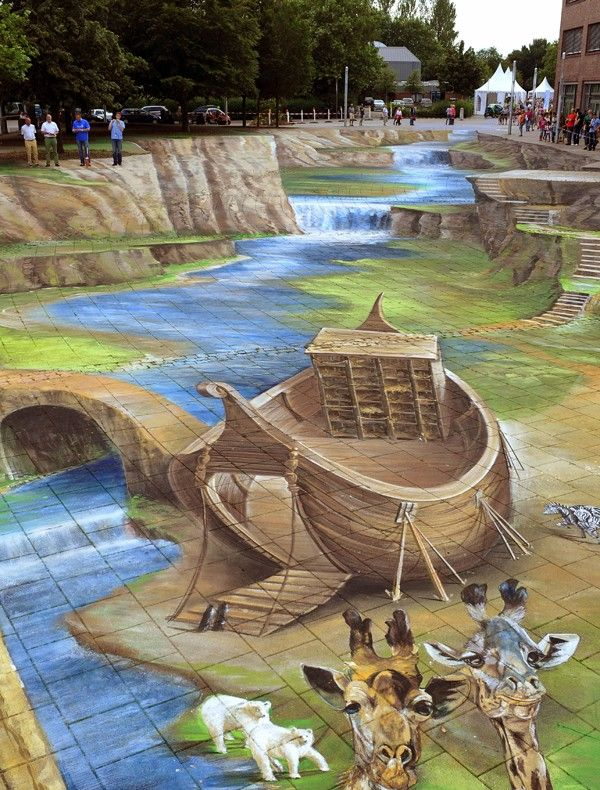 3D Chalk Art / Street Art Gregor Wosik and 3 other artists paint this picture.