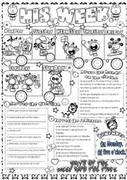 English worksheet: his week