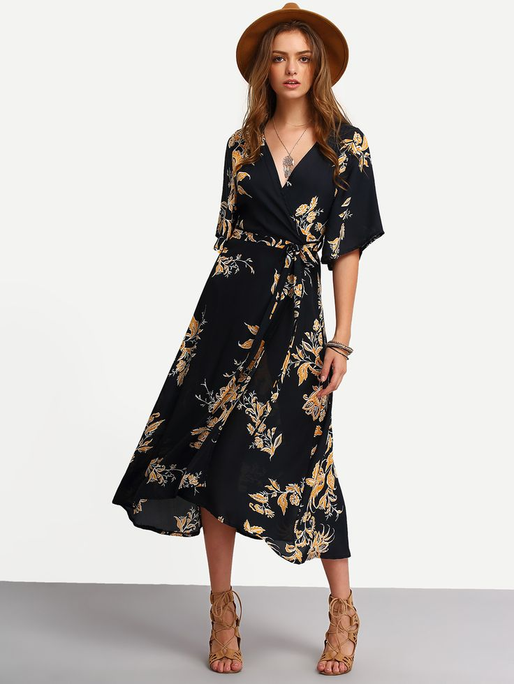 Online shopping for V Neck Florals Wrap Dress from a great selection of women's fashion clothing & more at MakeMeChic.COM.