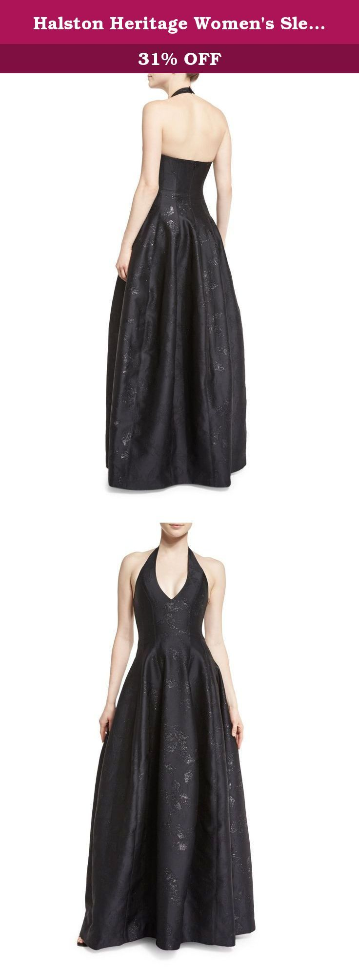 Halston Heritage Women's Sleeveless Halter Jacquard Gown 12 Black. Sleeveless gown with a halter neckline and a fitted bodice.