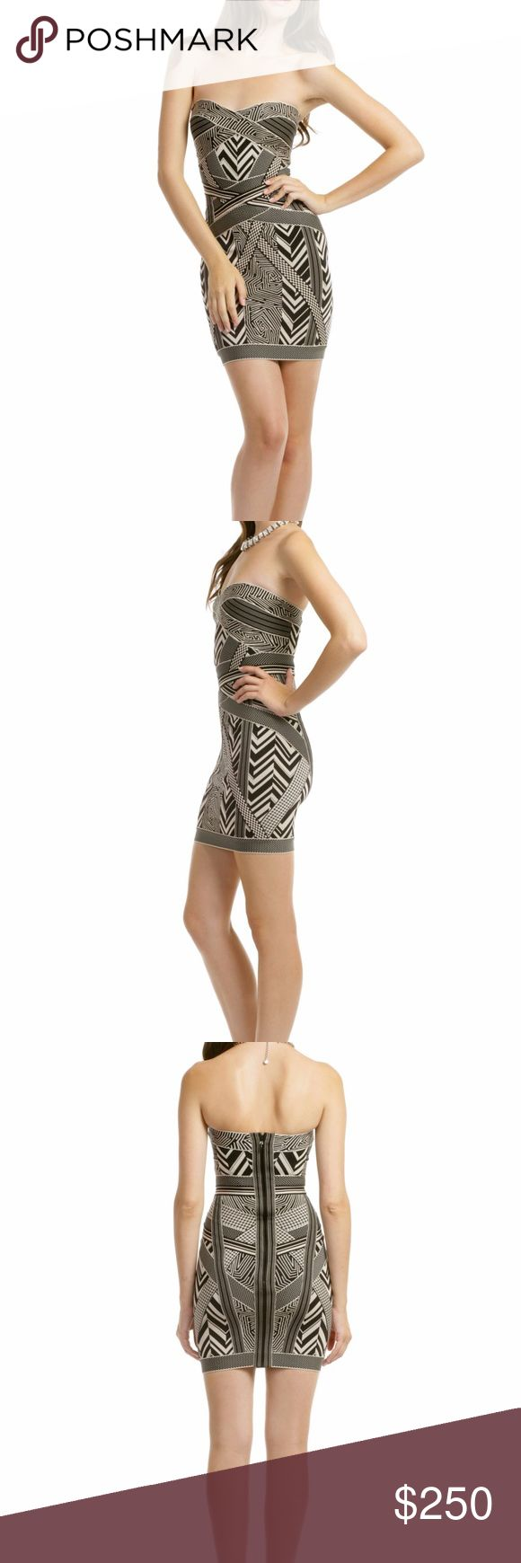 Herve Leger Bandage Geometric Jacquard Print Dress Herve Leger bandage dress, tribal print. black and tan, gently worn, will add photos of actual dress tonight! strapless dress with sweetheart neckline. NO TRADES As seen on Rihanna! Herve Leger Dresses Strapless