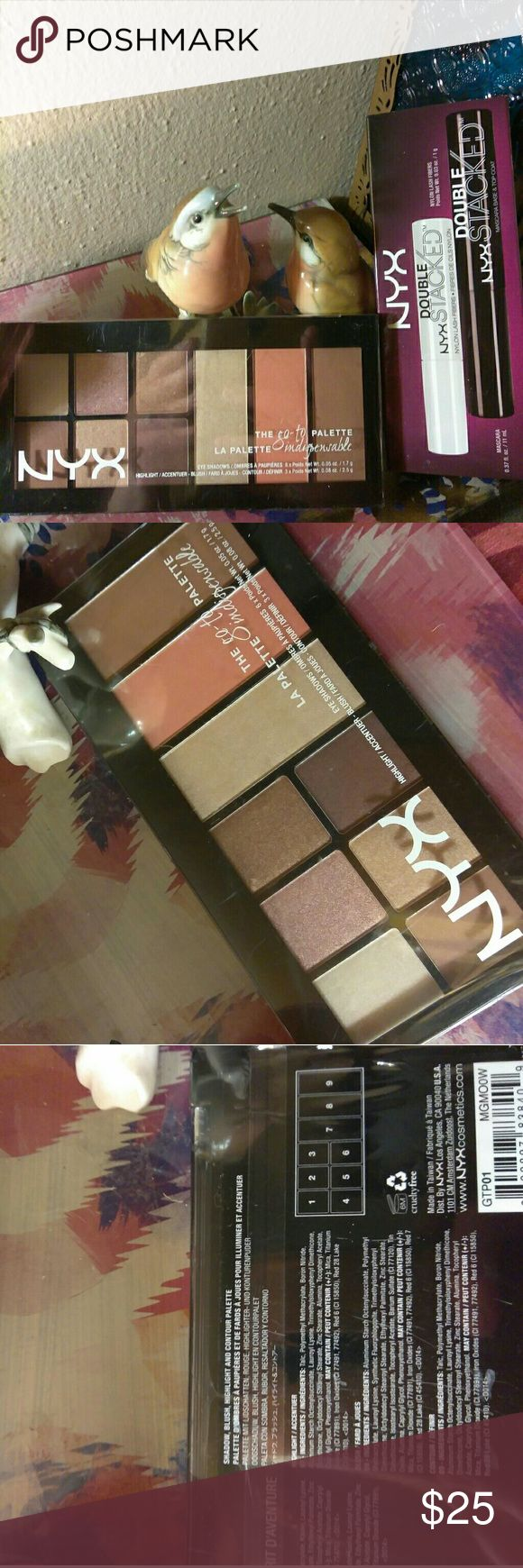 NYX Eye Bundle NYX Wanderlust go to Palette with highlight, contour , blush & eyeshadow- retails at 17$ &  NYX Double Stacked mascara  Retails at 15$  Total value 32$ NYX Makeup Eyeshadow