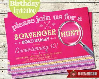 Scavenger Hunt Birthday Invitation | Road Rally | Card | Invite | Tribal Aztec | Digital | DIY | Print file | Girl | Boy