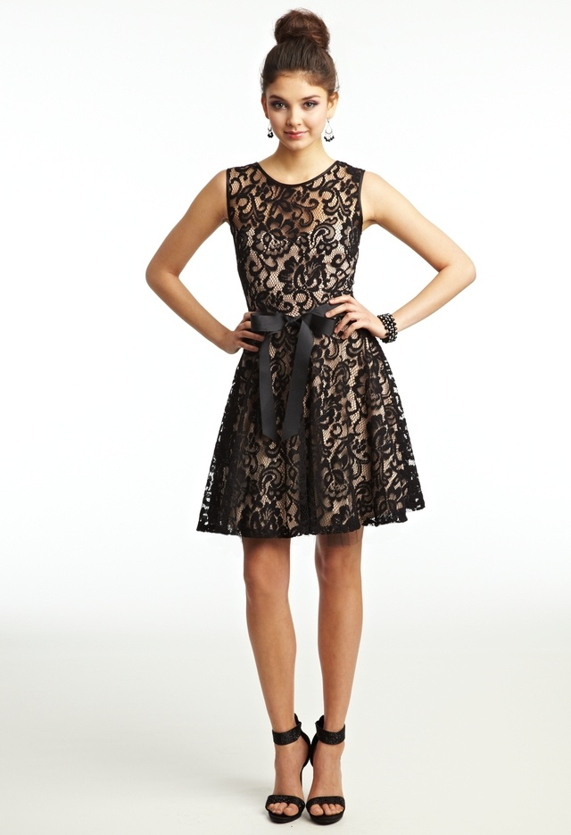 8Th grade dance. Short Two-Tone Lace Dress with Ribbon ...
