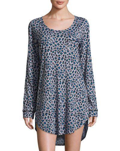 I0T47 Cosabella Bella Leopard-Print Long-Sleeve Sleep Dress, Dove Gray/Black