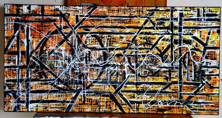 "De Flo - Nr.220.Abstracta painting [New Logic Games o]- D-[100x50] Pictura abstracta lucrari originale De Flo ""The painting has a life of its own. I try to let it come through""     -Jackson Pollock-"