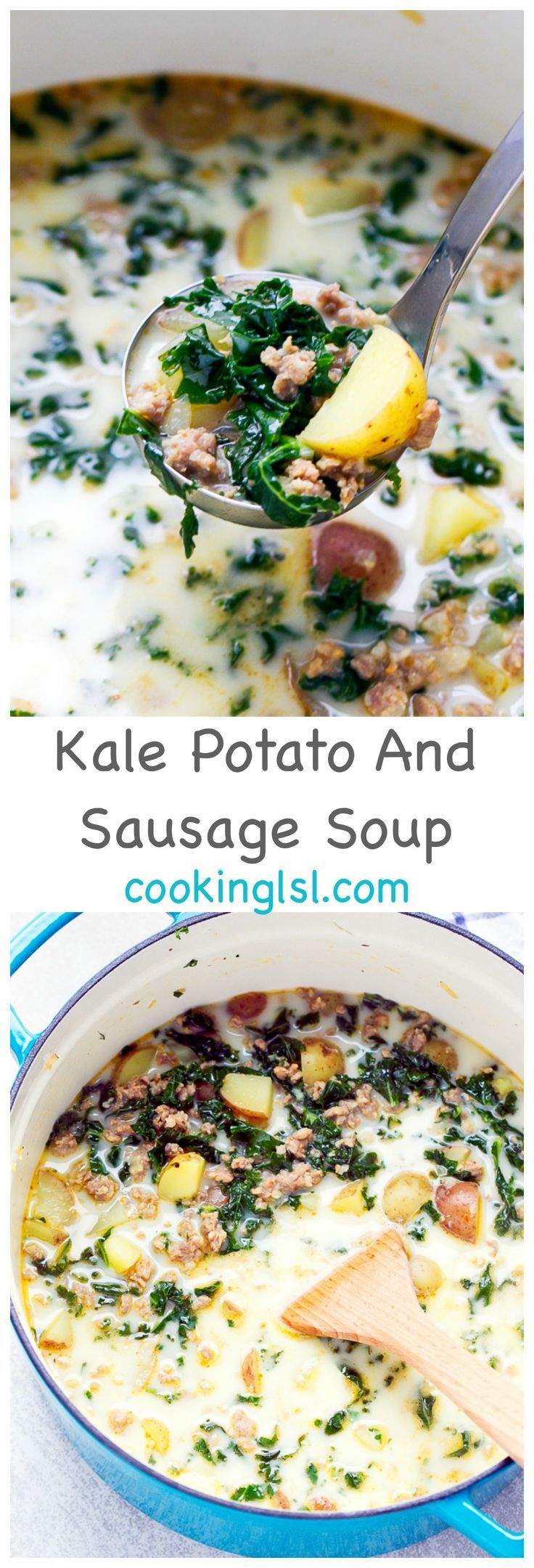 Easy-Kale-Potato-And-Sausage-Soup-Recipe via @cookinglsl