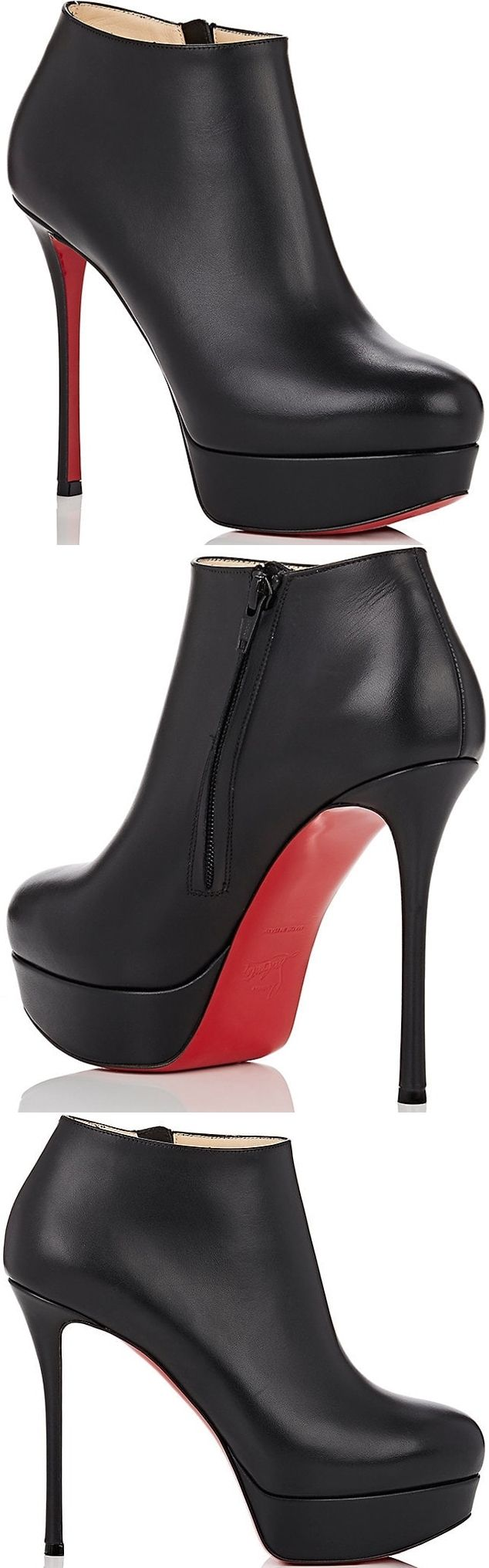Christian Louboutin's black smooth calfskin Dirdibootie ankle booties are designed with the label's signature Fetish stiletto heel. Made in Italy, this edgy-yet-refined pair features a supportive platform for comfort and wearability.
