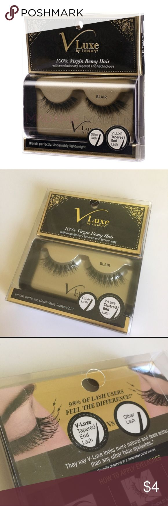 V-Luxe by iEnvy 100% Virgin Remy Hair Lashes-Blair Free Bonus Gift: J.Cat Beauty Perfect Duo Brow Pencil in Brown. Offers welcome! All listings are from a smoke-free home. Bundle with one additional item for a discount! Cover photo courtesy of madamemadeline.com V Luxe Makeup False Eyelashes