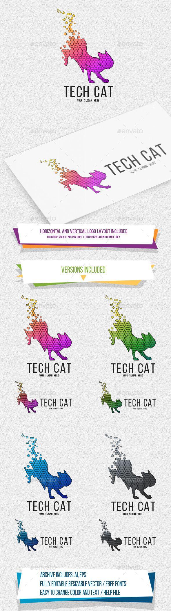 TechCat Logo Template Vector EPS, AI Illustrator