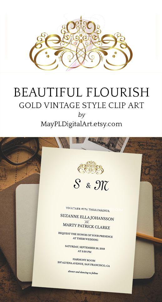 Gold Swirl Design Flourish Clipart Elements