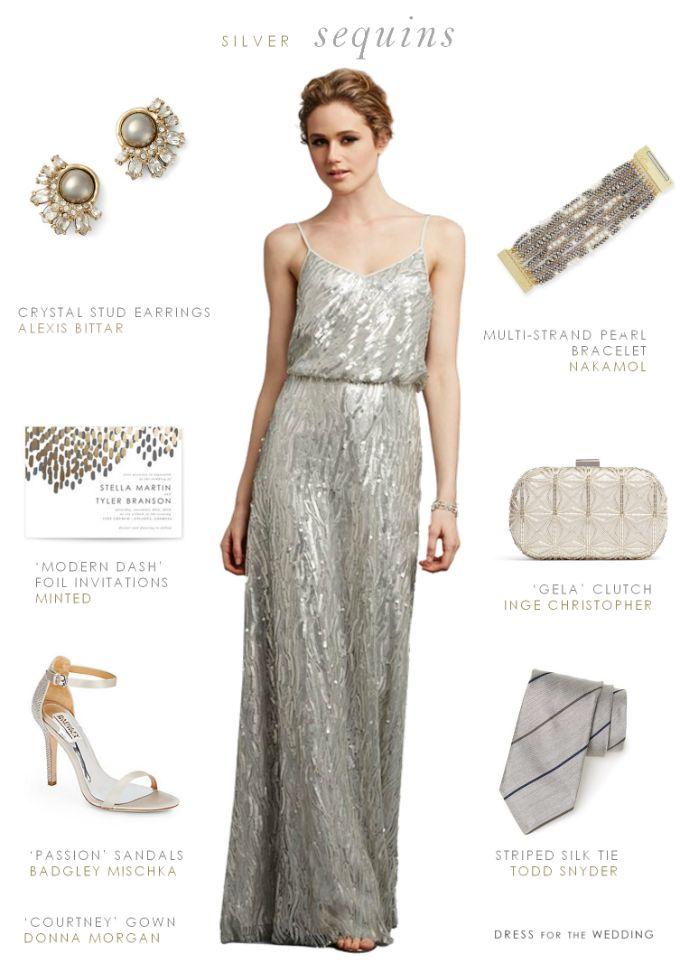 Silver sequin bridesmaid dress