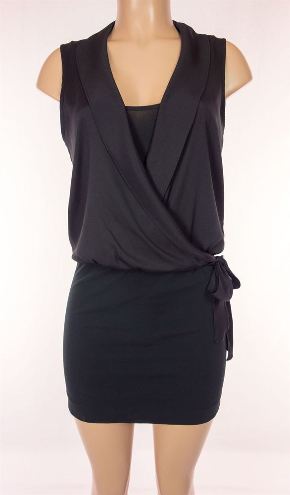 THEORY Dress Size 4 S Small Little Black Dress Combo Silk Belted Cocktail Work #Theory #Sheath #Cocktail