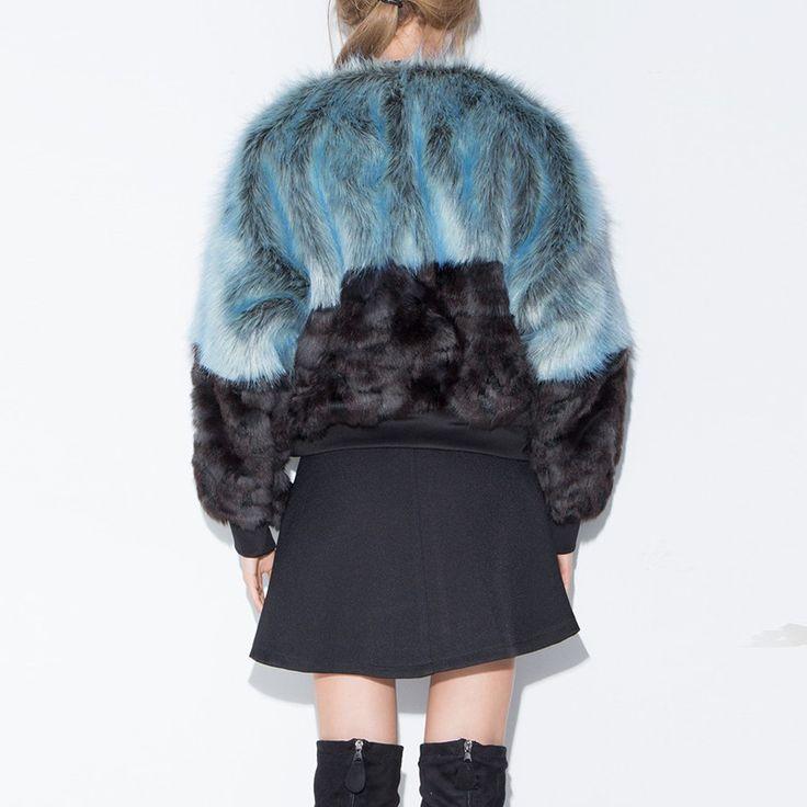 Color Contrast Faux Fur Short Coat