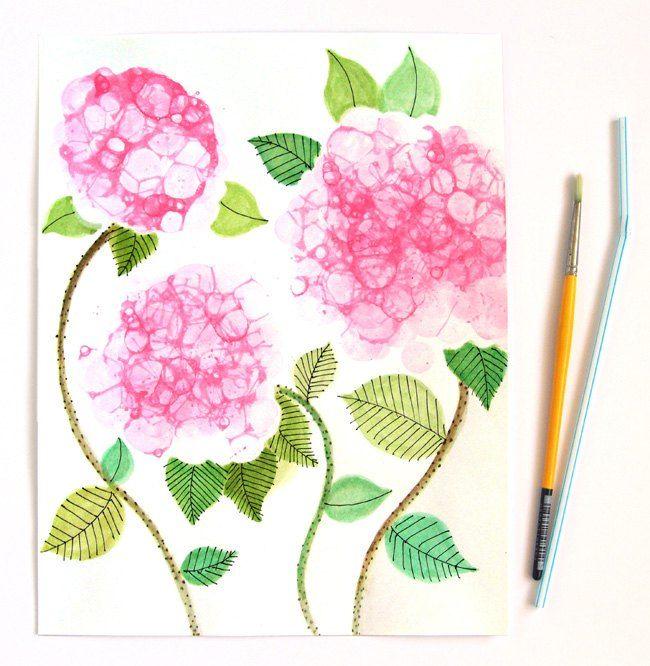 bubble paint flower hydrangeas, crafts, diy, home decor, repurposing upcycling, wall decor