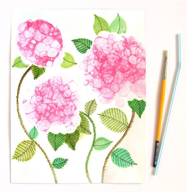 bubble paint flower hydrangeas, crafts, diy, home decor, repurposing upcycling, wall decor