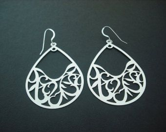 Matte Arabesque Pattern Teardrop earrings- white gold plated and sterling silver ear wires