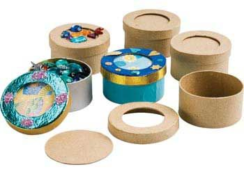 Papier Mache Round Boxes Set of 6. Blank canvas ready for Children to decorate. Use paint, glitter, sequins and other decorations.