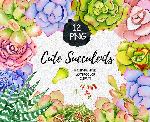 Succulents Clipart, Hand painted, Wedding diy elements, Printable instant download, watercolor succulents, high resolution, Digital clip art