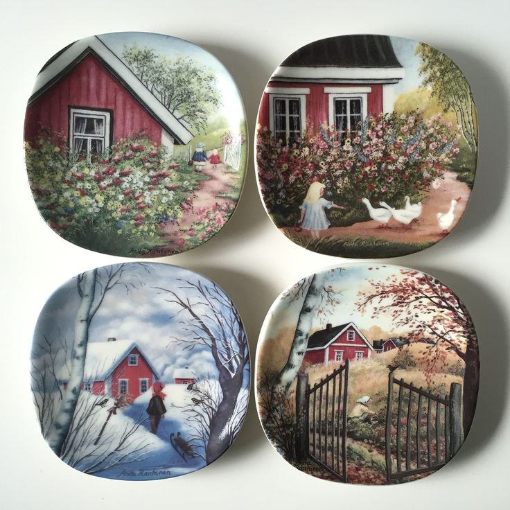 Set of four small wall hangings from Arabia of Finland, designed by Anita Rantanen Siemens. This collection is called Old time Spring, Summer, Autumn, Winter very RARE and in mint condition. It is now available in my shop scandinavianantique at Etsy.