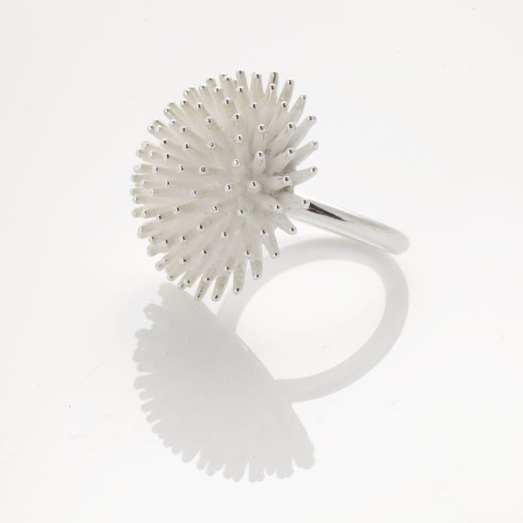 A 3D jewellery series designed and made in Finland by Jenny Puputti including a ring, a necklace and earrings. ( the ring approximate size 18 )