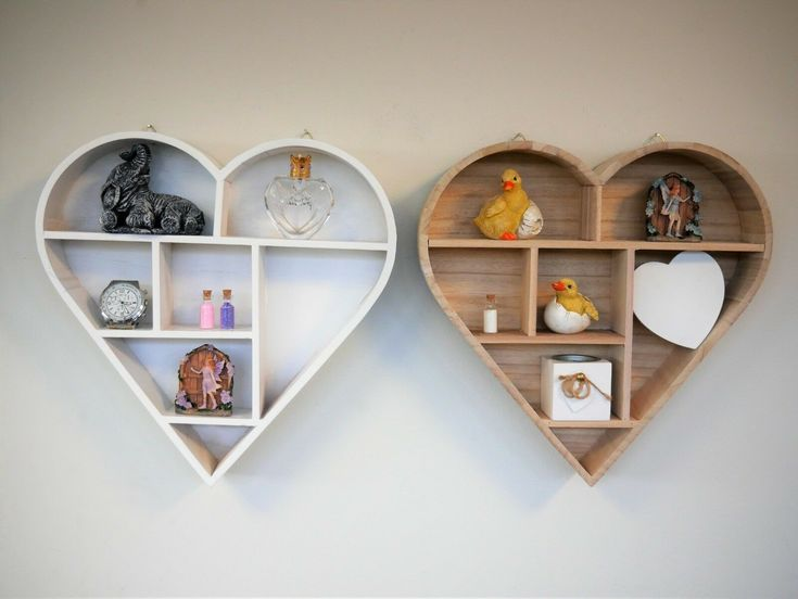 Details About Hanging Heart Shaped Wooden Shelf Floating
