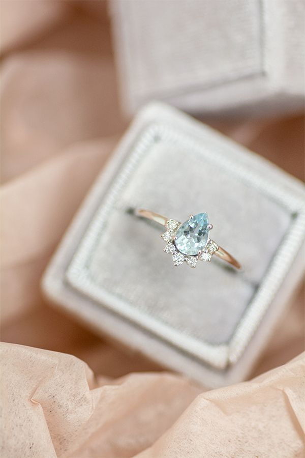 Pear Aquamarine Half Halo Diamond Ring Blue Sapphire Engagement Ring Halo 14k White Gold Engagement Rings Delicate Gold Ring