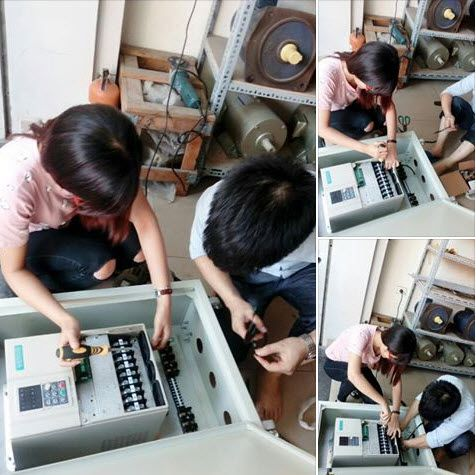 The image shows our staffs are checking the Veichi AC70 sensorless vector control drives: http://www.veichi.org/product/electric-drive/ac70-sensorless-vector-control-inverter.html