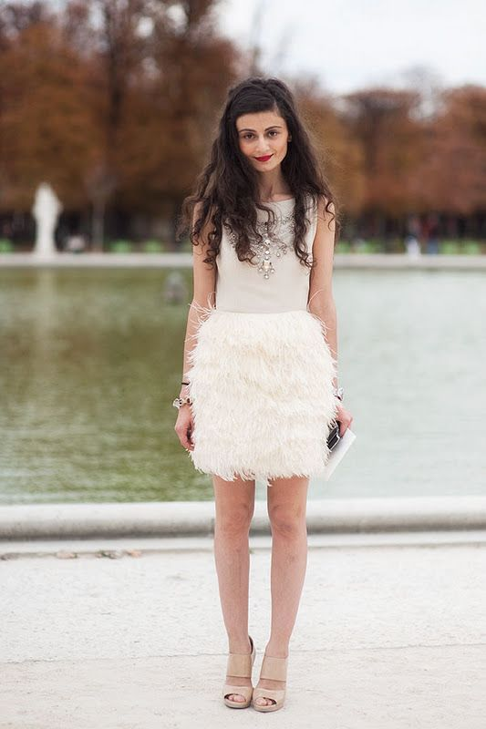 White feather reception dress