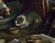 """Detalle de un gato en la pintura de Jacopo Bassano, """"Cristo en casa de María, Marta y Lázaro"""" (c. 1577), Museo de Bellas Artes de Houston."""