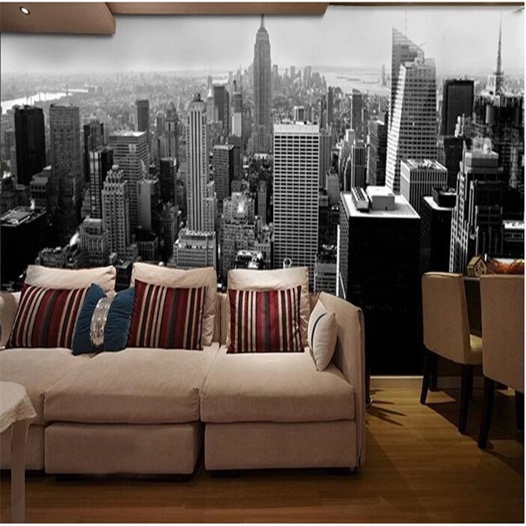 Cheap 3d wall paper, Buy Quality wall paper directly from China wall paper styles Suppliers: beibehang 3d wall paper Simple black architectural style city building in Manhattan New York wall mural wallpaper contact paper