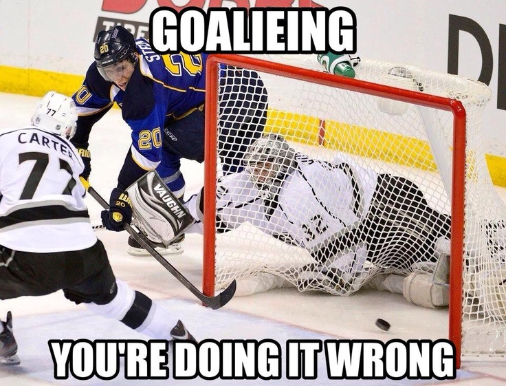 Playoff Game 1 between St. Louis Blues and LA Kings. Blues win in OT with this goal on Quick